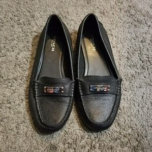 Coach Frederica black leather loafers size 6.5